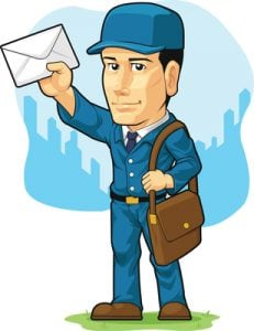 mail carrier holding up envelope