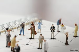 depiction of several people with lines indicating networking relationships