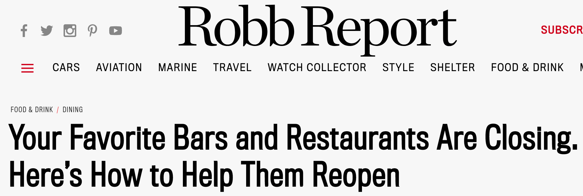 Robb Report article - eReleases press release service Dining Bond Case Study