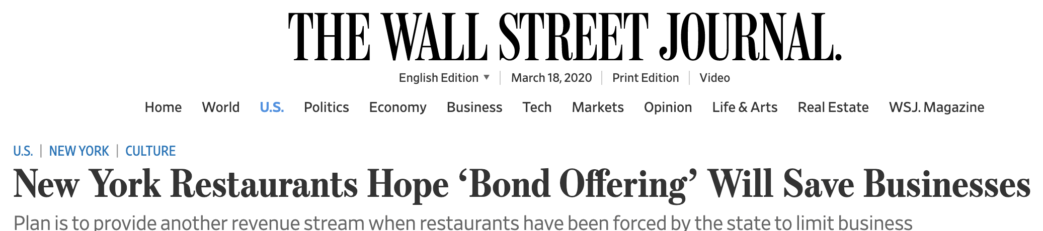 Wall Street Journal article - eReleases press release service Dining Bond Case Study
